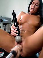 MILF gets machine fucked and cums like crazy all the HUGE cocks.